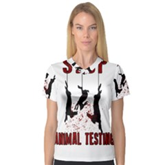 Stop Animal Testing   Rabbits  V Neck Sport Mesh Tee