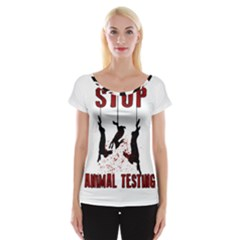 Stop Animal Testing   Rabbits  Cap Sleeve Tops