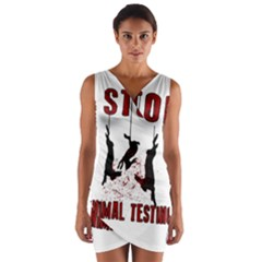 Stop Animal Testing   Rabbits  Wrap Front Bodycon Dress