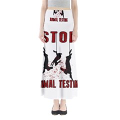 Stop Animal Testing   Rabbits  Full Length Maxi Skirt