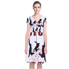 Stop Animal Testing   Rabbits  Short Sleeve Front Wrap Dress