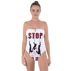 Stop Animal Testing   Rabbits  Tie Back One Piece Swimsuit