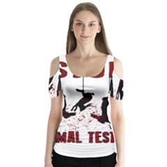 Stop Animal Testing   Rabbits  Butterfly Sleeve Cutout Tee