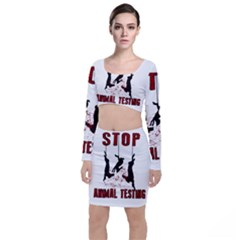 Stop Animal Testing   Rabbits  Long Sleeve Crop Top & Bodycon Skirt Set