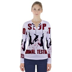 Stop Animal Testing   Rabbits  V Neck Long Sleeve Top
