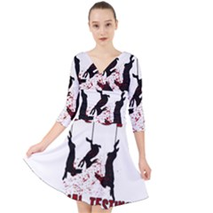 Stop Animal Testing   Rabbits  Quarter Sleeve Front Wrap Dress