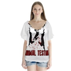 Stop Animal Testing   Rabbits  V Neck Flutter Sleeve Top