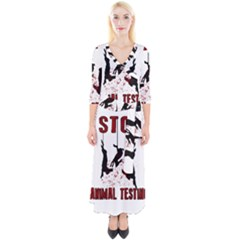 Stop Animal Testing   Rabbits  Quarter Sleeve Wrap Maxi Dress