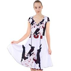 Stop Animal Testing   Rabbits  Cap Sleeve Front Wrap Midi Dress
