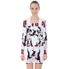 Stop Animal Testing   Rabbits  V Neck Bodycon Long Sleeve Dress