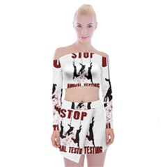 Stop Animal Testing   Rabbits  Off Shoulder Top With Mini Skirt Set