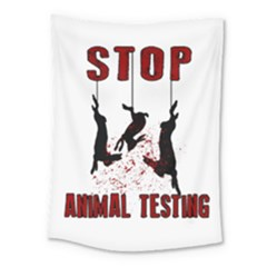 Stop Animal Testing   Rabbits  Medium Tapestry