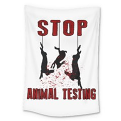 Stop Animal Testing   Rabbits  Large Tapestry