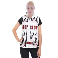 Stop Animal Testing   Rabbits  Women s Button Up Puffer Vest