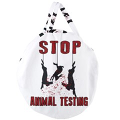 Stop Animal Testing   Rabbits  Giant Round Zipper Tote