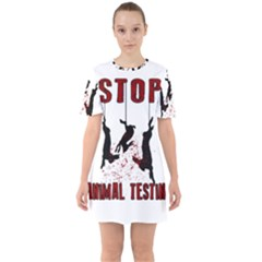 Stop Animal Testing   Rabbits  Sixties Short Sleeve Mini Dress