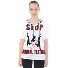 Stop Animal Testing   Rabbits  V Neck Dolman Drape Top