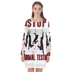 Stop Animal Testing   Rabbits  Long Sleeve Chiffon Shift Dress