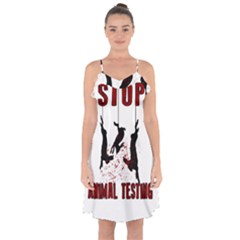 Stop Animal Testing   Rabbits  Ruffle Detail Chiffon Dress