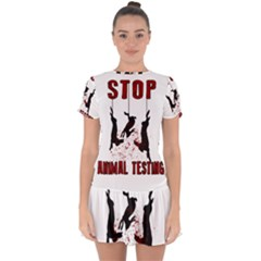 Stop Animal Testing   Rabbits  Drop Hem Mini Chiffon Dress