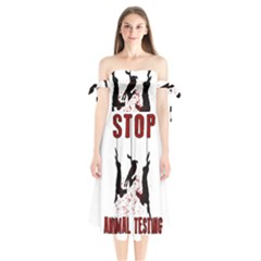 Stop Animal Testing   Rabbits  Shoulder Tie Bardot Midi Dress