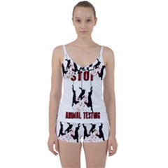 Stop Animal Testing   Rabbits  Tie Front Two Piece Tankini