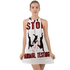 Stop Animal Testing   Rabbits  Halter Tie Back Chiffon Dress