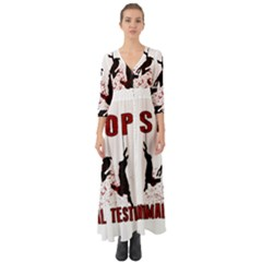 Stop Animal Testing   Rabbits  Button Up Boho Maxi Dress
