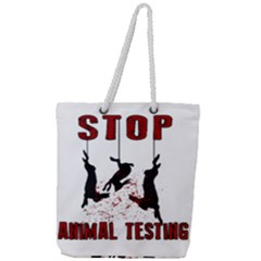 Stop Animal Testing   Rabbits  Full Print Rope Handle Tote (large)