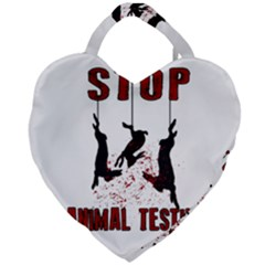 Stop Animal Testing   Rabbits  Giant Heart Shaped Tote