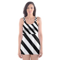 Watercolor Spring Floral Background With Stripes 1340 5193 Skater Dress Swimsuit