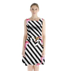 Watercolor Spring Floral Background With Stripes 1340 5193 Sleeveless Waist Tie Chiffon Dress