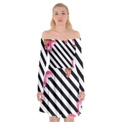 Watercolor Spring Floral Background With Stripes 1340 5193 Off Shoulder Skater Dress