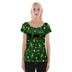 St Patricks Day Pattern Cap Sleeve Tops