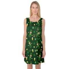 St Patricks Day Pattern Sleeveless Satin Nightdress