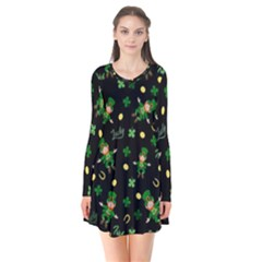 St Patricks Day Pattern Flare Dress