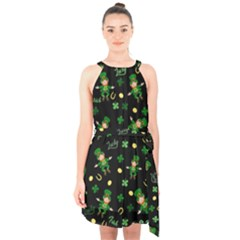 St Patricks Day Pattern Halter Collar Waist Tie Chiffon Dress