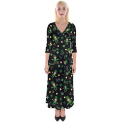 St Patricks Day Pattern Quarter Sleeve Wrap Maxi Dress