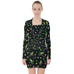 St Patricks Day Pattern V Neck Bodycon Long Sleeve Dress