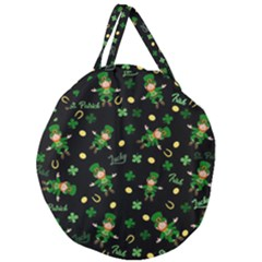 St Patricks Day Pattern Giant Round Zipper Tote