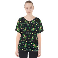 St Patricks Day Pattern V Neck Dolman Drape Top