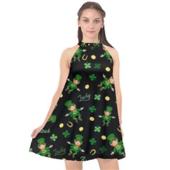 St Patricks Day Pattern Halter Neckline Chiffon Dress