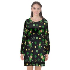 St Patricks Day Pattern Long Sleeve Chiffon Shift Dress