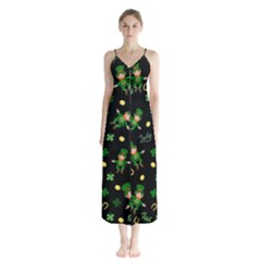 St Patricks Day Pattern Button Up Chiffon Maxi Dress