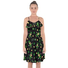 St Patricks Day Pattern Ruffle Detail Chiffon Dress