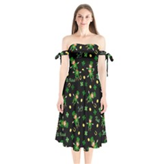 St Patricks Day Pattern Shoulder Tie Bardot Midi Dress
