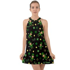 St Patricks Day Pattern Halter Tie Back Chiffon Dress