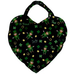 St Patricks Day Pattern Giant Heart Shaped Tote