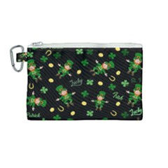 St Patricks Day Pattern Canvas Cosmetic Bag (medium)