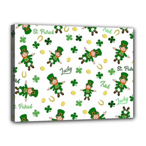 St Patricks Day Pattern Canvas 16  X 12